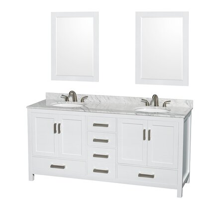 Sheffield 72 Double White Bathroom Vanity Set with Mirror Top Finish: White Carrera Marble, Faucet Mount: 8 Centers