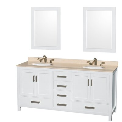 Sheffield 72 Double White Bathroom Vanity Set with Mirror Top Finish: Ivory Marble, Faucet Mount: Single Hole