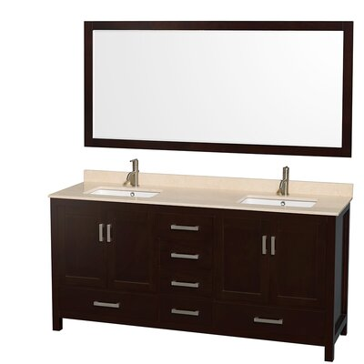 Sheffield 72 Double Espresso Bathroom Vanity Set with Mirror Top Finish: Ivory Marble, Faucet Mount: 8 Centers