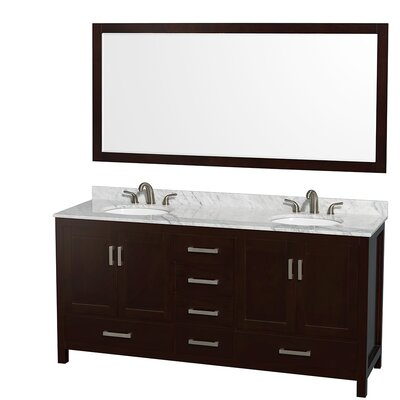 Sheffield 72 Double Espresso Bathroom Vanity Set with Mirror Top Finish: White Carrera Marble, Faucet Mount: Single Hole