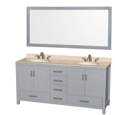 Sheffield 72 Double Gray Bathroom Vanity Set with Mirror Top Finish: Ivory Marble, Faucet Mount: 8 Centers