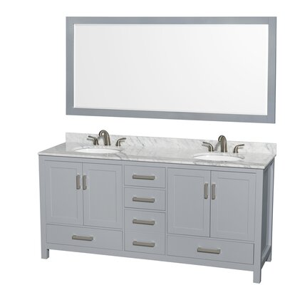 Sheffield 72 Double Gray Bathroom Vanity Set with Mirror Top Finish: White Carrera Marble, Faucet Mount: Single Hole
