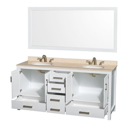 Sheffield 72 Double White Bathroom Vanity Set with Mirror Top Finish: Ivory Marble, Faucet Mount: 8 Centers