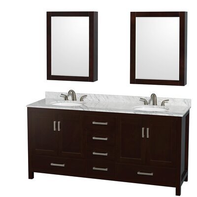 Sheffield 72 Double Espresso Bathroom Vanity Set with Medicine Cabinet Top Finish: White Carrera Marble, Faucet Mount: 8 Centers