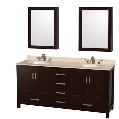 Sheffield 72 Double Espresso Bathroom Vanity Set with Medicine Cabinet Top Finish: Ivory Marble, Faucet Mount: Single Hole