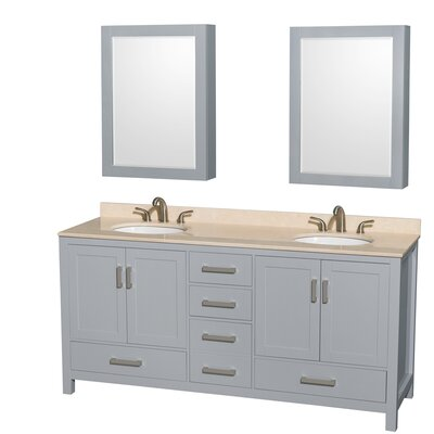 Sheffield 72 Double Gray Bathroom Vanity Set with Medicine Cabinet Top Finish: Ivory Marble, Faucet Mount: 8 Centers