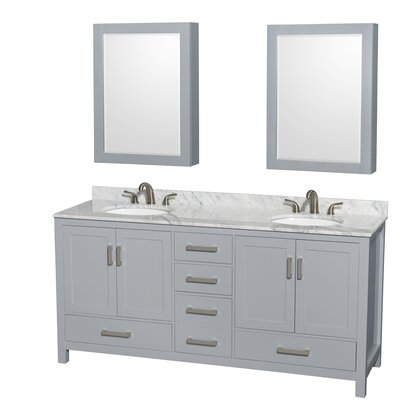 Sheffield 72 Double Gray Bathroom Vanity Set with Medicine Cabinet Top Finish: White Carrera Marble, Faucet Mount: 8 Centers