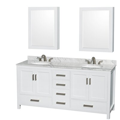 Sheffield 72 Double White Bathroom Vanity Set with Medicine Cabinet Top Finish: White Carrera Marble, Faucet Mount: Single Hole