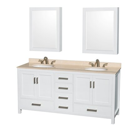 Sheffield 72 Double White Bathroom Vanity Set with Medicine Cabinet Top Finish: Ivory Marble, Faucet Mount: 8 Centers