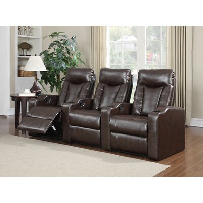 Eugenia Home Theater Right Facing Recliner Upholstery: Brown