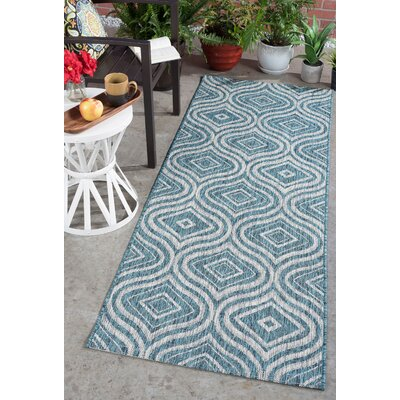 Weber Contemporary Aqua Indoor/Outdoor Area Rug Rug Size: Runner 27 x 73