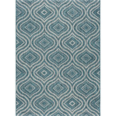 Weber Contemporary Aqua Indoor/Outdoor Area Rug Rug Size: 53 x 73