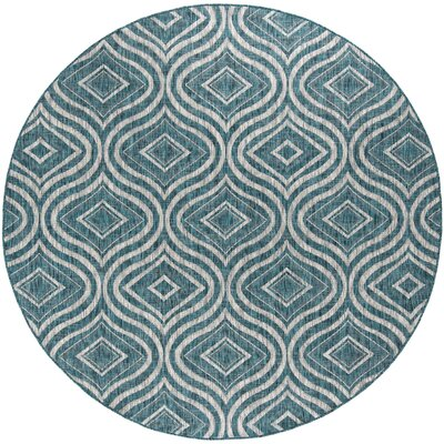 Weber Contemporary Aqua Indoor/Outdoor Area Rug Rug Size: Rectangle 710 x 103