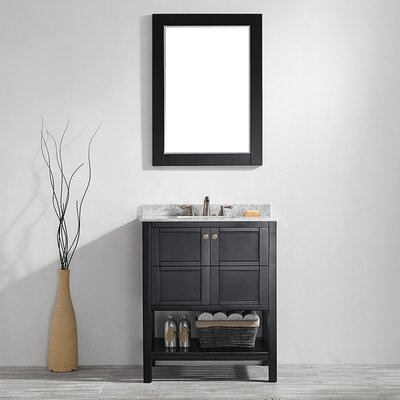 Peabody 30 Single Vanity Set with Mirror Base Finish: Espresso