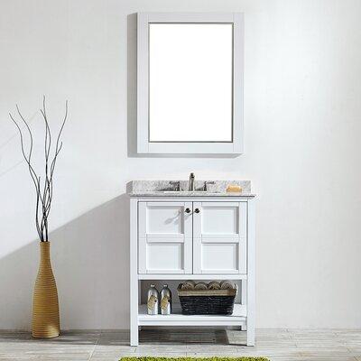 Peabody 30 Single Vanity Set with Mirror Base Finish: White