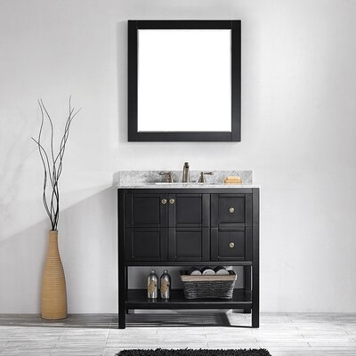 Peabody 36 Single Vanity Set with Mirror Base Finish: Espresso