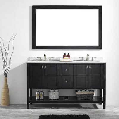 Peabody 60 Double Bathroom Vanity Set with Mirror Base Finish: Espresso
