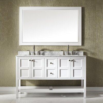 Peabody 60 Double Bathroom Vanity Set with Mirror Base Finish: White