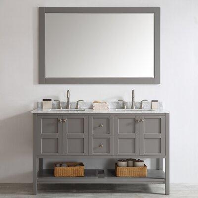 Peabody 60 Double Bathroom Vanity Set with Mirror Base Finish: Grey