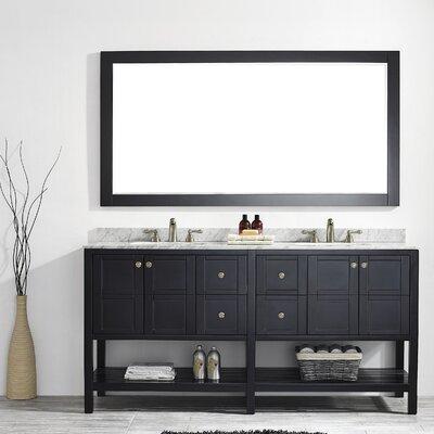 Peabody 72 Double Bathroom Vanity Set with Mirror Base Finish: Espresso