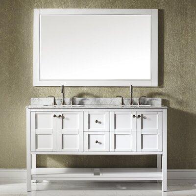 Peabody 72 Double Bathroom Vanity Set with Mirror Base Finish: White