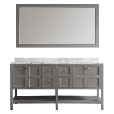 Peabody 72 Double Bathroom Vanity Set with Mirror Base Finish: Grey