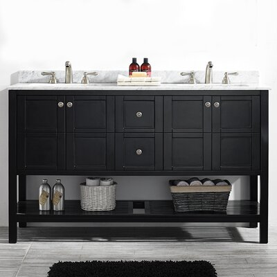 Peabody 60 Double Bathroom Vanity Set Base Finish: Espresso