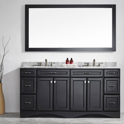 Pembroke 72 Double Bathroom Vanity Set with Mirror Base Finish: Espresso