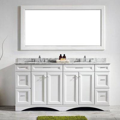 Pembroke 72 Double Bathroom Vanity Set with Mirror Base Finish: White