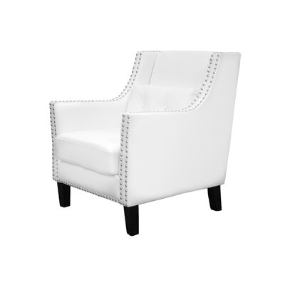 Pepperell Faux Leather Club Chair Upholstery Color: White