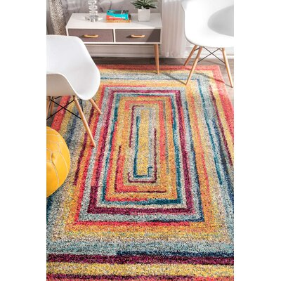 Horace Labyrinth Red/Yellow Area Rug Rug Size: Rectangle 41 x 6