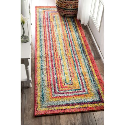 Horace Labyrinth Red/Yellow Area Rug Rug Size: Runner 26 x 12