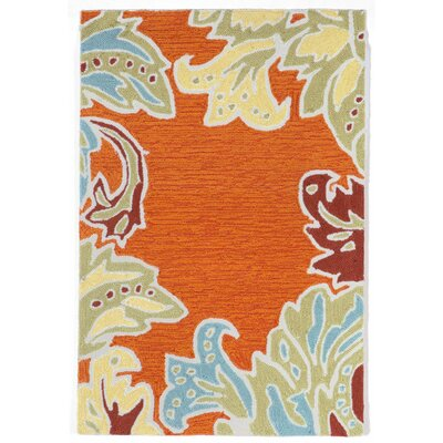 Cosmo Ornamental Leaf Border Orange Indoor/Outdoor Area Rug Rug Size: Rectangle 2 x 3