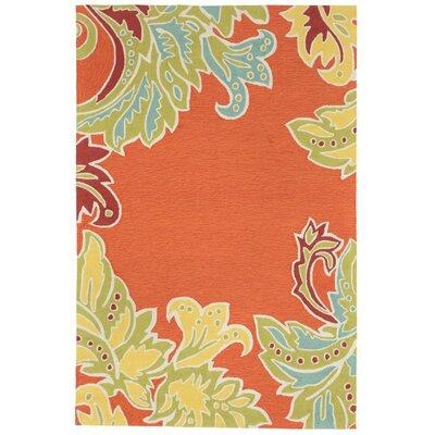 Cosmo Ornamental Leaf Border Orange Indoor/Outdoor Area Rug Rug Size: Rectangle 5 x 76