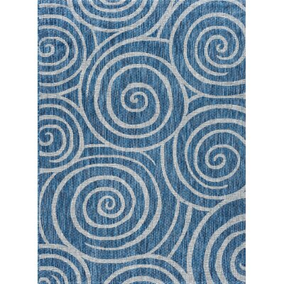 Weber Transitional Indigo Indoor/Outdoor Area Rug Rug Size: 53 x 73