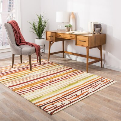 Angelina Red/Orange Striped Indoor/Outdoor Area Rug Rug Size: 76 x 96