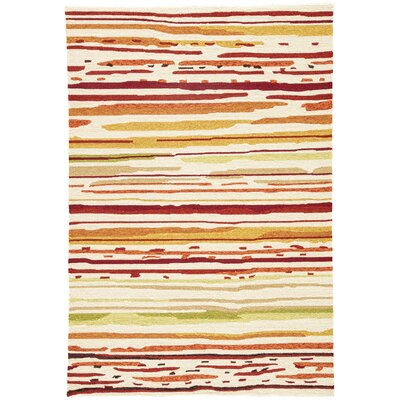 Angelina Hand-Hooked Red/Orange Indoor/Outdoor Area Rug Rug Size: Rectangle 36 x 56