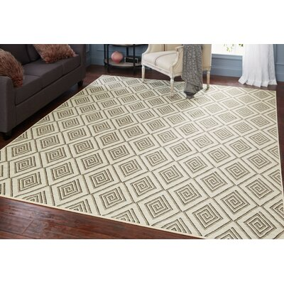 Brodec Cream/Taupe Area Rug Rug Size: Rectangle 5 x 7