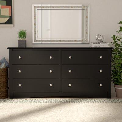 Wanda 6 Drawer Double Dresser Color: Black