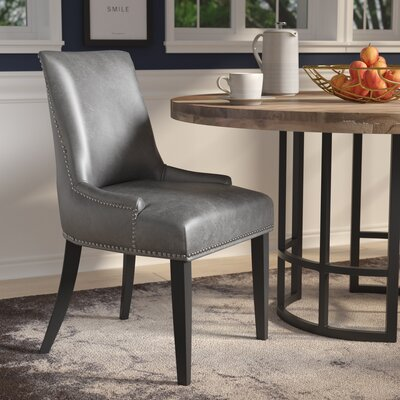Keziah Nailhead Dining Chair Upholstery: Leather - Gray