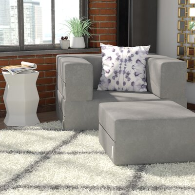Colbie Modular Sleeper Chair with Ottoman Upholstery: Gray