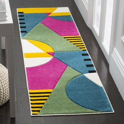 Elliott Peacock Blue/Fuchsia Area Rug Rug Size: Rectangle 27 x 5