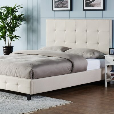 Tiara Upholstered Platform Bed Size: Full, Color: Bone