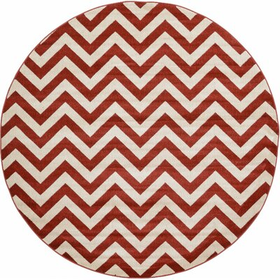 Erik Rust Red Area Rug Rug Size: Round 8