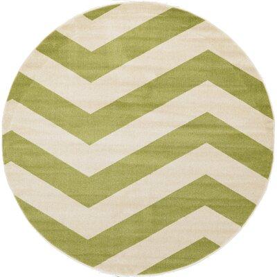 Brennan Green Area Rug Rug Size: Round 8