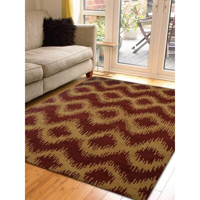 Utterback Hand-Knotted Red/Gold Area Rug Rug Size: Rectangle 10 x 14