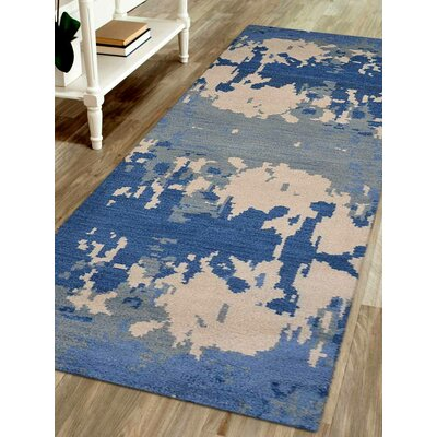 Tamera Hand-Woven Blue/Beige Area Rug Rug Size: Runner 26 x 10