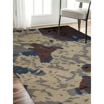 Tamera Hand-Knotted Beige Area Rug Rug Size: Rectangle 9 x 12
