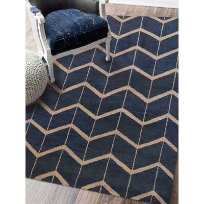 Mica Hand-Knotted Blue/Beige Area Rug Rug Size: Rectangle 5 x 8