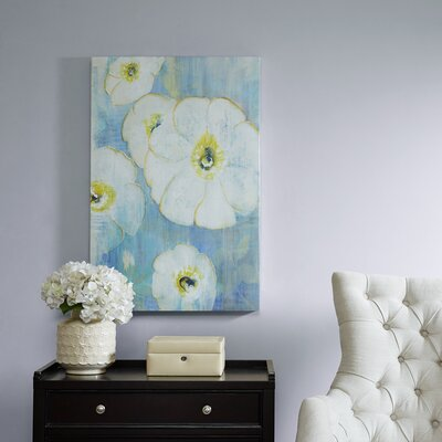 'A Floral Song White Hand Embellished' Graphic Art Print on Canvas